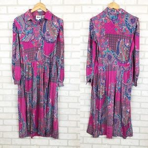 Vintage 1980s Leslie Fay Long Sleeve Midi Dress 10